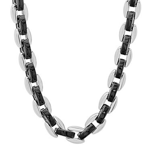 2mm Jewel Tie Stainless Steel Polished /& Black Simulated Onyx Pendant 24in Necklace